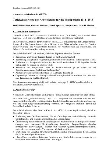 Tätigkeitsberichte der Arbeitskreise für die Wahlperiode ... - GTFCh