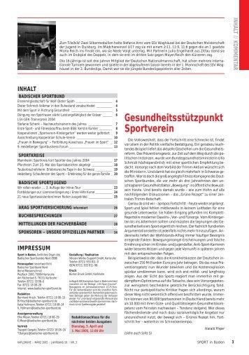 Gesundheitsstützpunkt Sportverein - Badischer Sportbund Nord ev