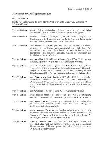 Jahreszahlen zur Toxikologie im Jahr 2011 - GTFCh