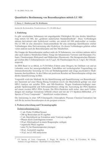 Quantitative Bestimmung von Benzodiazepinen mittels LC ... - GTFCh