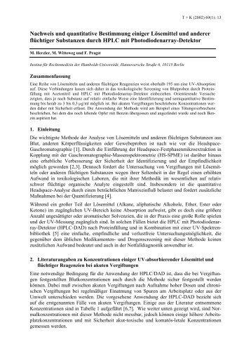Nachweis und quantitative Bestimmung einiger Lösemittel ... - GTFCh