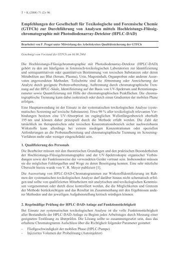 (GTFCh) zur Durchführung von Analysen mittels Hochleis