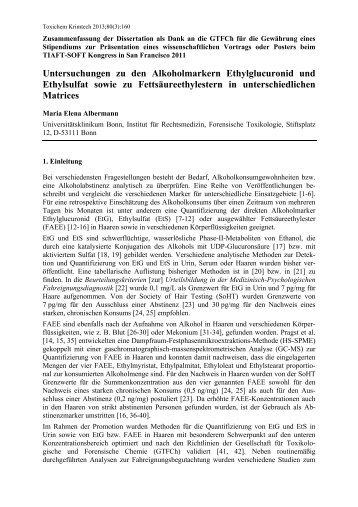 Untersuchungen zu den Alkoholmarkern Ethylglucuronid ... - GTFCh