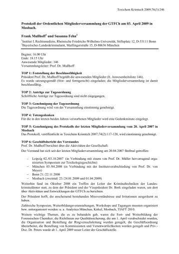 Protokoll der Ordentlichen Mitgliederversammlung der GTFCh am ...