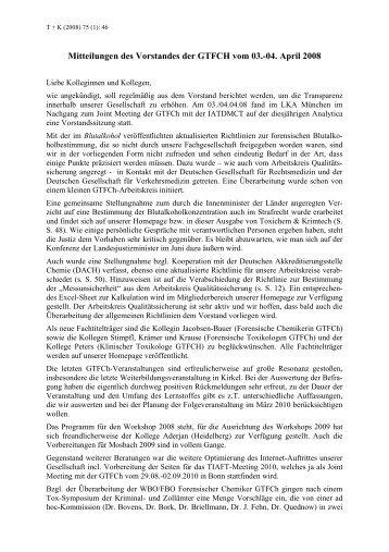 Mitteilungen des Vorstandes der GTFCH vom 03.-04. April 2008