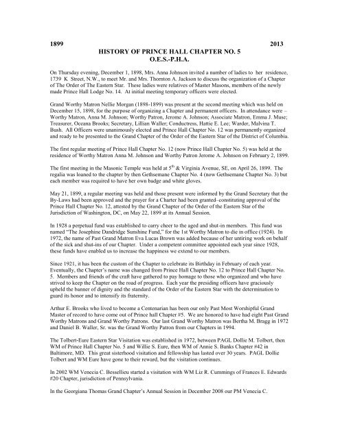 1899 2013 history of prince hall chapter no  5 oes-pha