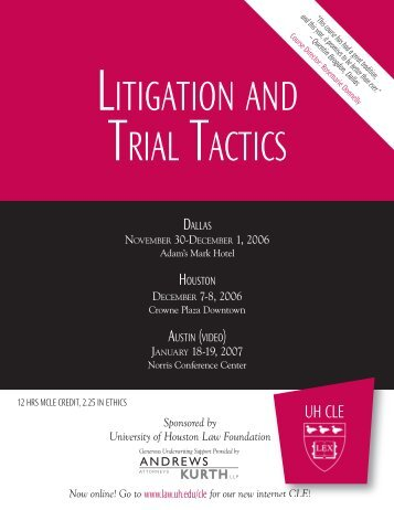 LITIGATION AND TRIAL TACTICS - Greenberg Traurig LLP