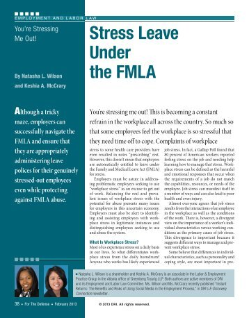Stress Leave Under the FMLA - Greenberg Traurig LLP