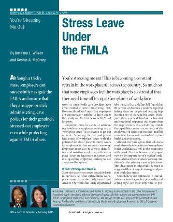 Stress Leave Under the FMLA - Greenberg Traurig LLP