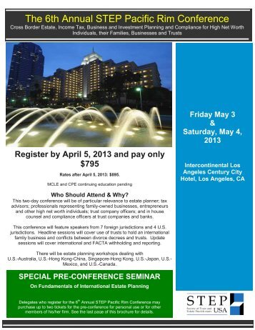 The 6th Annual STEP Pacific Rim Conference - Greenberg Traurig ...