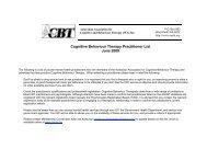 Cognitive Behaviour Therapy Practitioner List June 2009