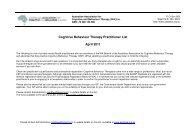 Cognitive Behaviour Therapy Practitioner List April 2011