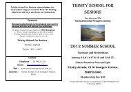 TRINITY SCHOOL FOR SENIORS 2012 SUMMER SCHOOL