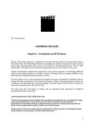 ASX/MEDIA RELEASE Utopia 9 ? Completed as Oil Producer