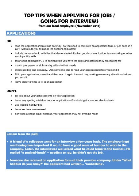 TOP TIPS WHEN APPLYING FOR JOBS / GOING FOR INTERVIEWS