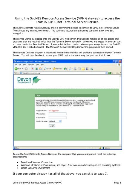 Using the ScoMIS Remote Access Gateway (VPN) to access SIMS