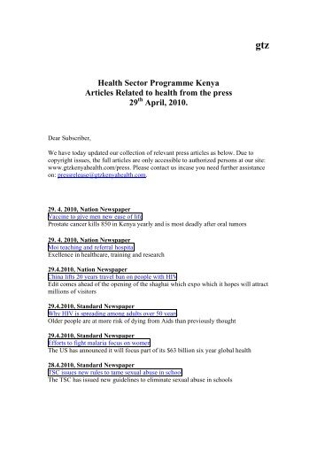 Health Articles from the press, 29th of April - GIZ Health Sector ...