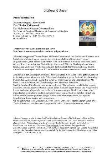 Presseinformation Das Tiroler Zahlenrad Das ... - Gräfe und Unzer