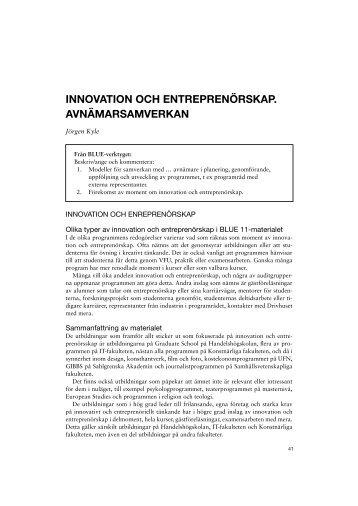 Innovation och entreprenörskap. Avnärmarsamverkan
