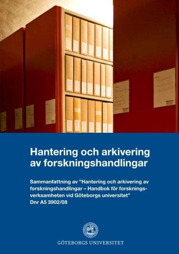 Hantering och arkivering av forskningshandlingar - Göteborgs ...