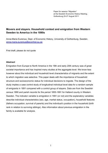 Movers and stayers. Household context and emigration from ...