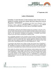 Letter of Declaration Suitability of Jindal Stainless ... - Gual Steel