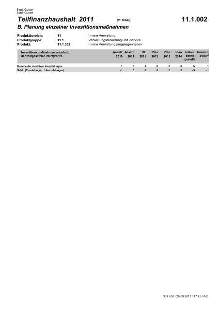 Teilfinanzplan B 2011 - Guben