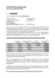 Haushaltssicherungskonzept für die Jahre 2011 bis 2016 - Guben