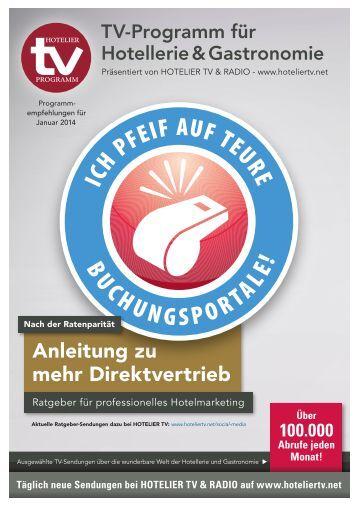 HOTEL TV PROGRAMM Januar 2014 - Anleitung zu mehr Direktvertrieb - Ratgeber für professionelles Hotelmarketing