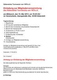 Einladung zur Mitgliederversammlung - Gütersloher Turnverein von ...