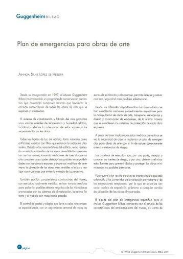 Plan de emergencias para obras de arte - Museo Guggenheim Bilbao