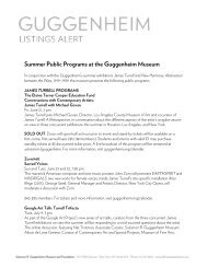 January 2012 Public Programs at the Guggenheim Museum