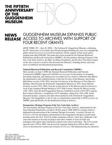 press release - Guggenheim Museum