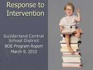 Response to Intervention (RTI) - Guilderland Central School District