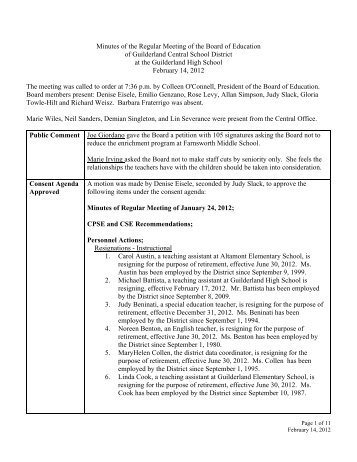 Minutes of the Regular Meeting of the Board of Education of ...