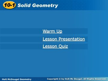 10-1 Solid Geometry 10-1 Solid Geometry