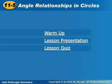 11-5 Angle Relationships in Circles 11-5 Angle Relationships in ...