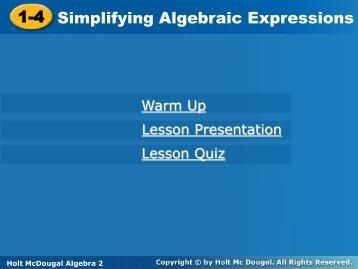 1.4 Simplifying Algebraic Expressions