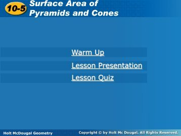 10-5 Surface Area of Pyramids and Cones