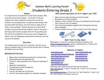 Entering 2nd Grade Summer Math - Guilford Public Schools