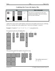 Activity 2.3.1 Combining Like Terms with Algebra Tiles