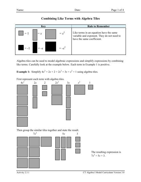 Activity 2 3 1 Combining Like Terms With Algebra Tiles