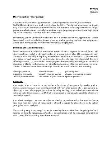 5004(a) Discrimination / Harassment - Guilford Public Schools