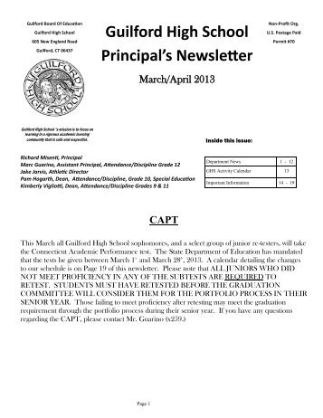 Guilford High School Principal's Newsletter - Guilford Public Schools