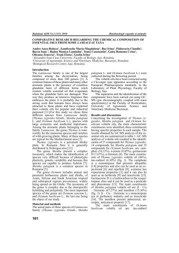 COMPARATIVE RESEARCH REGARDING THE CHEMICAL ...