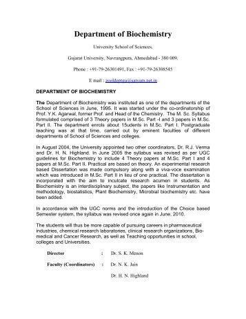 Department of Biochemistry - Gujarat University