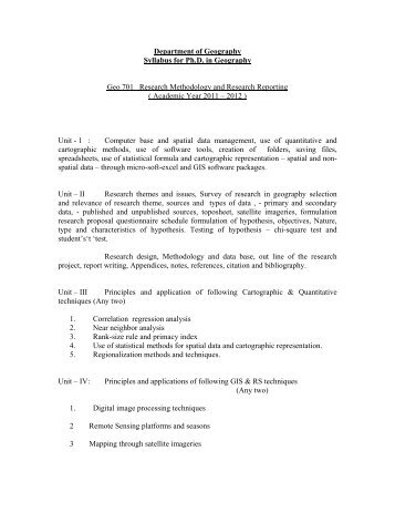 Department of Geography Syllabus for Ph.D. in ... - Gujarat University