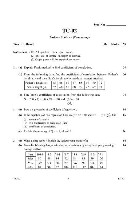 TYBCOM Business Statistics pdf - Gujarat University
