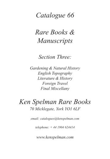 Catalogue 66 Rare Books & Manuscripts Ken ... - FileDen.com