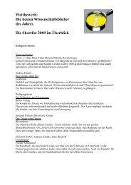 Wettbewerb: Die besten Wissenschaftsbücher des ... - Buchkultur